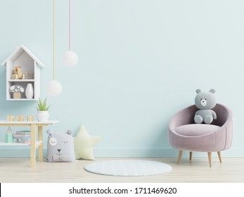 Mockup wall in the children's room on wall blue colors background.3D Rendering