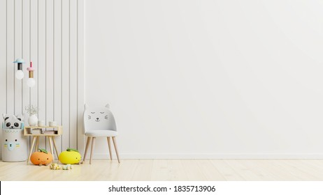 Mockup wall in the children's room on wall white colors background.3D Rendering