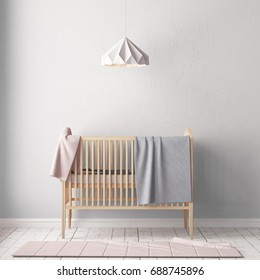 Mockup wall in the children's room in pastel colors. Scandinavian style. 3d illustration.