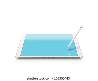 Mockup of white digital tablet pc with stylus on white background. Clipping path included. 3D render