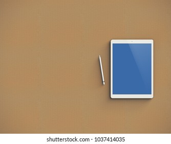 Mockup of white digital tablet with stylus on kraft paper background. Top view. Clipping path included. 3D render