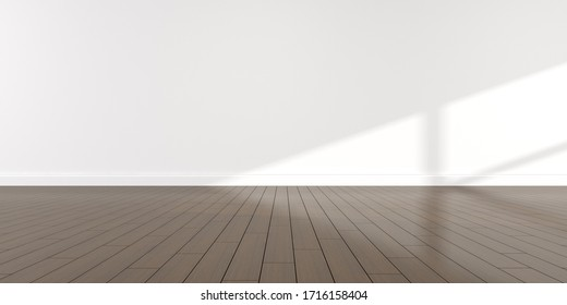 Mock-up of white empty room and dark wood laminate floor with sun light cast the shadow on the wall,Perspective of minimal interior design. 3D rendering.