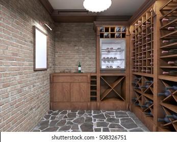 Mockup white poster on brick wall wine cellar. 3D render.