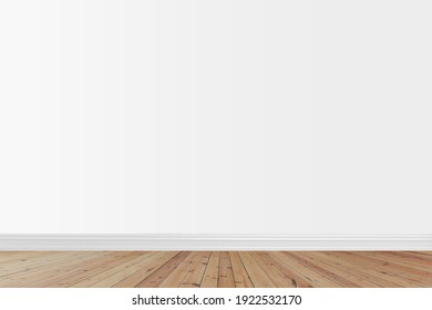 Mockups Frame Wooden Poster Template with Wall White Color and Floor Wooden