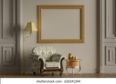 Mock-up,White wall,Classic furniture,Classic armchair,interior decoration,picture frame3d rendering, 3d illustration