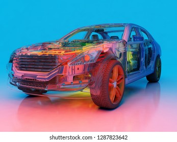 Model cars on a blue background,3d render