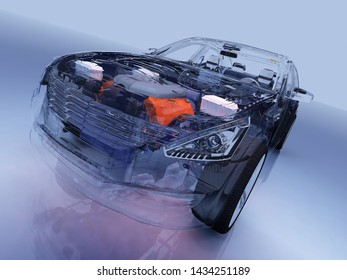 Model cars on a blue background,3d render
