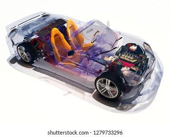 Model cars on white background..3d render