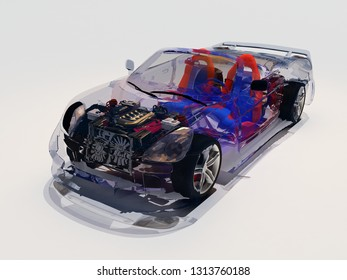 Model cars on white background..3d render
