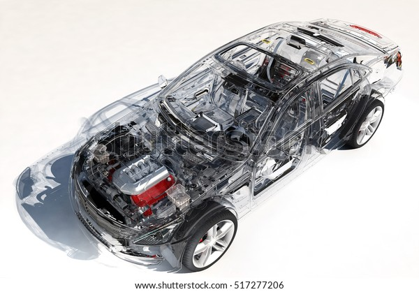Modellautos auf weißem Hintergrund.3D-Rendering