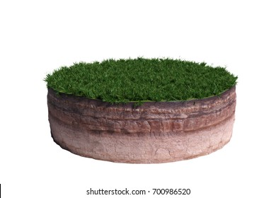 model of a cross section of ground with grass on the surface (3d illustration, isolated on white background)