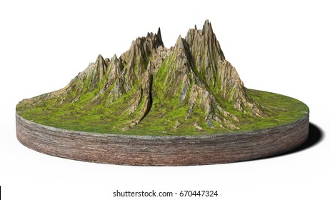 model of a cross section of ground with mountains and meadows (3d render, isolated on white background)