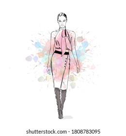 model flaunting fashion designer clothing