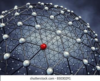 Model of a global network, 3d illustration