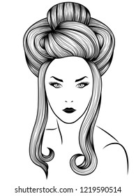 Model high bun gorgeous coiffure with long locks, hand drown detailed illustration isolated on the white background