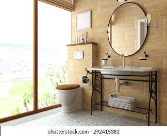 model interior of bathroom . 3D illustration .