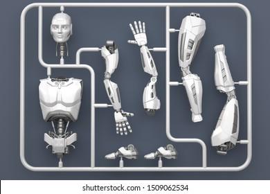 Model kit set with futuristic robot parts. 3D illustration