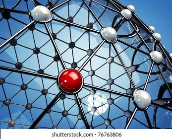 Model of a network , 3d illustration
