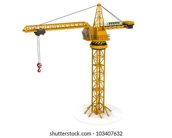Model of orange tower crane isolated on white background