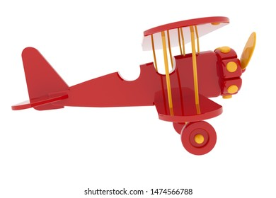 model toy 3D rendering of an airplane biplane double wing red color flying retro propeller  vintage white background isolate