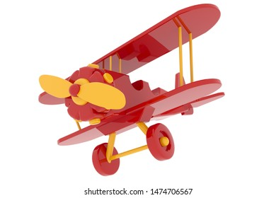 model wooden toy airplane biplane flight 3D rendering red yellow air transport white background isolate