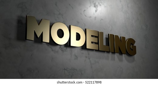 Modeling - Gold sign mounted on glossy marble wall  - 3D rendered royalty free stock illustration. This image can be used for an online website banner ad or a print postcard.