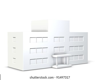Models of school buildings,or hospital buildings.  This is a computer generated image,on white background.
