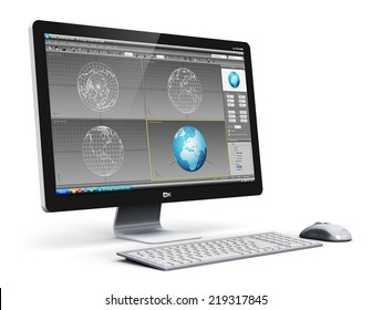Modern 3D design technology business concept: professional desktop workstation computer PC with 3D development software interface on monitor screen, keyboard and mouse isolated on white background