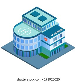 Modern 3d urban hospital building with helipad on the roof isometric isolated  illustration