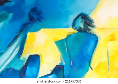 Modern abstract acrylic painting with two human figures on canvas called Observation