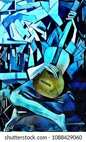 Modern abstract art in the style of cubism. Free interpretation of Picasso's famous painting in a new reproduction. Oil painting on canvas with acrylic painting elements.