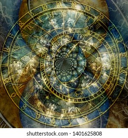 Modern abstract. Astronomical clock time spirals. 3D rendering