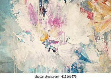 Modern abstract colorful background. Acrylic on canvas.  Fragment of artwork.  Floral style