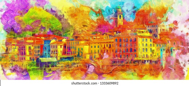 modern abstract colorful oil painting of the old town - illustration. collection of painting for decoration and interior, canvas art, abstract.  Set of pictures with different textures and colors