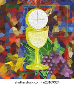Modern abstract Eucharist symbol of bread and wine, chalice and host, with grapes and wheat on a square abstract background. Digital illustration made without reference image.