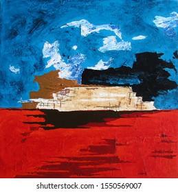 Modern Abstract Landscape Greek Island Santorini - Summer Holidays