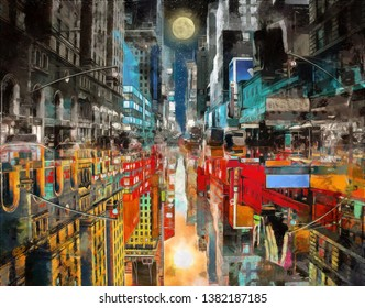 modern abstract painting of day and night concept of New York city street. cityscape, skyline, day and night. abstract canvas art painting for interior and decoration, city painting collection
