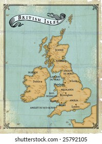 Modern age-old map of British Isles