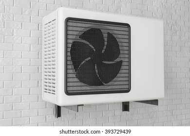 Modern Air Conditioner in front of brick wall