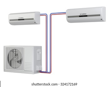 Modern air conditioner system. Installation of equipment. Isolated on white background 3d image