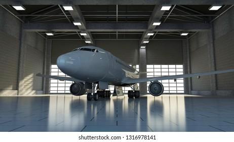 Modern Airplane Inside Hangar with Big Windows. 3D Rendering