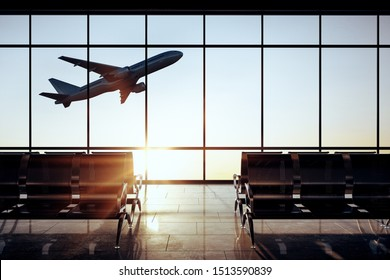 Modern airport interior with flying by airplane and sunlight view in panoramic window. 3D Rendering