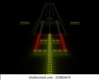 Modern Airport Runway at Night with Colorful Illuminated Lamps