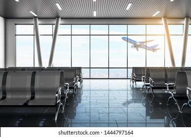 Modern airport waiting area with flyinf airplane and seats. Lounge and travel concept. 3D Rendering