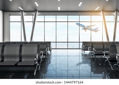 Moderna zona de espera del aeropuerto con avión de vuelo y asientos. Lounge y concepto de viajes. Representación 3D