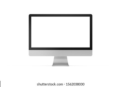 Modern all in one computer on white background. Universal graphics element, 3D render with detailed texture of brushed aluminium.