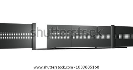 White Aluminium Panel : Modern aluminium panel fence black alu stock illustration
