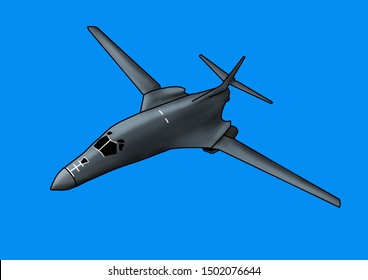 Modern American B-1 Lancer bomber aircraft. Original illustration with outline and shading, on a blue background.