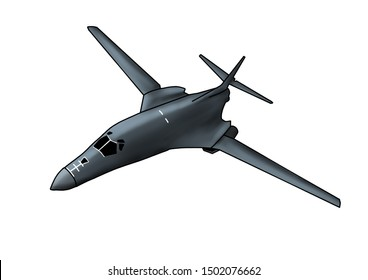 Modern American B-1 Lancer bomber aircraft. Original illustration with outline and shading, on a white background.