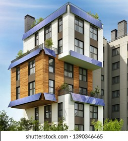 Modern apartment building with solar panels. Modern architecture of a residential apartment building. 3d rendering